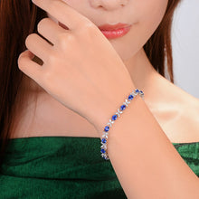 Load image into Gallery viewer, 6.97ctw Natural Blue Sapphire and Marquise Diamond 18kt AU750 White Gold Bracelet