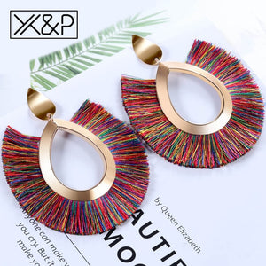 Bohemian Big Tassel Drop Earrings Handmade