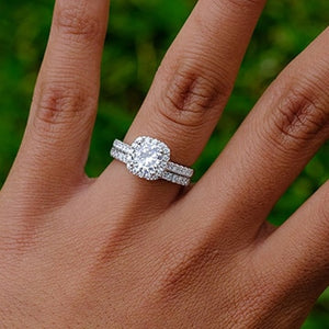 Silver 1.5 carat Moissanite halo wedding rings set