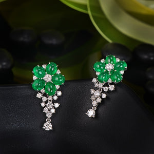 Natural 3.91ctw Cabochon Emeralds 1.0ct Brilliant Cut Diamonds 18kt Gold Flower Drop Earrings