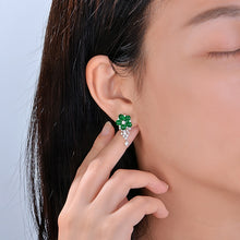 Load image into Gallery viewer, Natural 3.91ctw Cabochon Emeralds 1.0ct Brilliant Cut Diamonds 18kt Gold Flower Drop Earrings