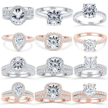 Load image into Gallery viewer, Wedding band rings 2pcs bridal set
