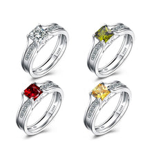 Load image into Gallery viewer, Princess Cut Red/Green/White/Yellow Zircon Rings