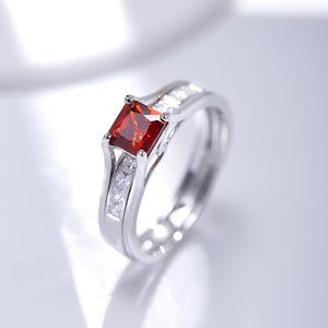 Princess Cut Red/Green/White/Yellow Zircon Rings