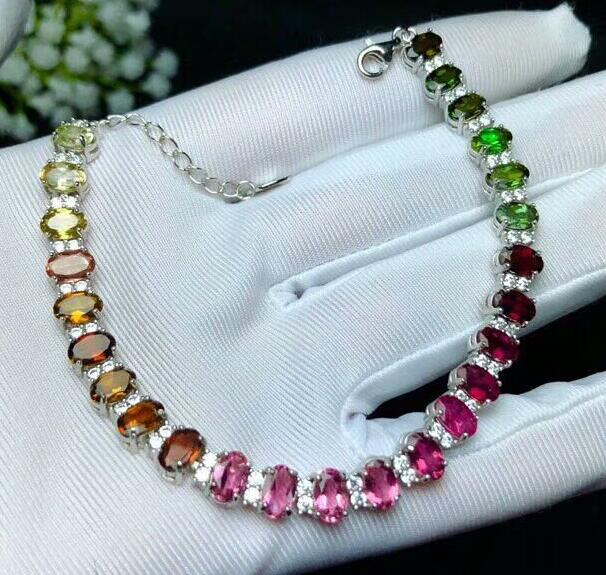 Silver inlaid natural tourmaline bracelet