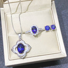 Load image into Gallery viewer, Unique Elegant Gemstone 925 Silver Set Natural Tanzanite