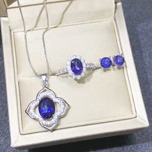 Unique Elegant Gemstone 925 Silver Set Natural Tanzanite