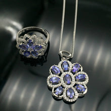 Load image into Gallery viewer, Romantic tanzanite heart jewelry set