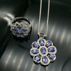 Romantic tanzanite heart jewelry set