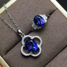 Load image into Gallery viewer, 925 Silver Inlaid natural Tanzanite ring necklace set