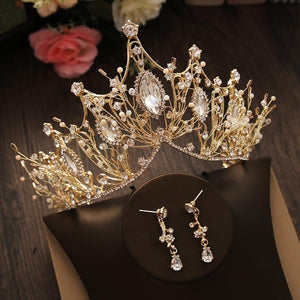 Bridal Jewelry Set Rhinestone Crystal Gold Tiara Silver Crown Earrings for Wedding
