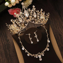 Load image into Gallery viewer, Bridal Jewelry Set Rhinestone Crystal Gold Tiara Silver Crown Earrings for Wedding