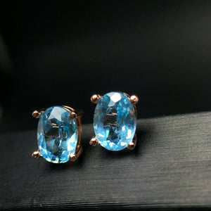 Natural Aquamarine Silver Earrings