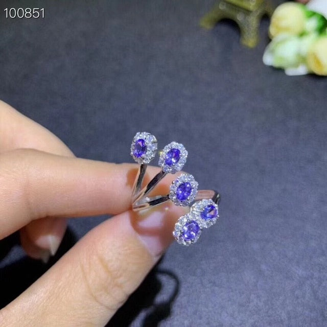 Natural Tested Tanzanite Silver Gemstone Ring