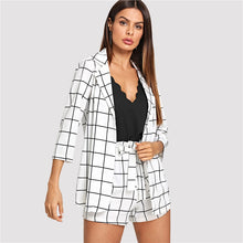 Load image into Gallery viewer, Black and White Plaid Notched Blazers With Self Tie Waist Shorts Womens