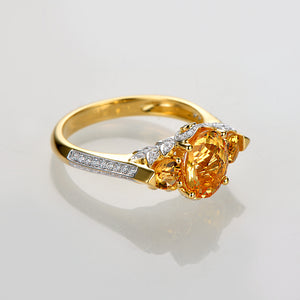 14k Yellow Gold 1.96ct Natural Citrine & Diamond Ring