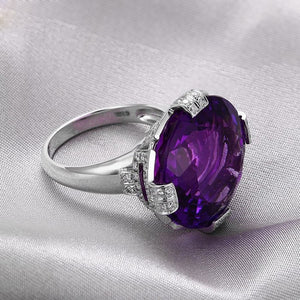 20.08ct Round Flawless Purple Amethyst 14k Gold Gorgeous Diamond Ring