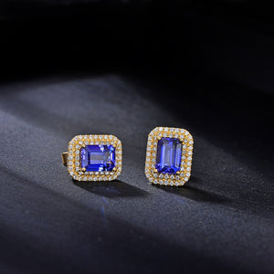 Natural 2.41ct Emerald Cut Tanzanite Pave Halo H SI Diamond Solid 14kt Yellow Gold Earrings