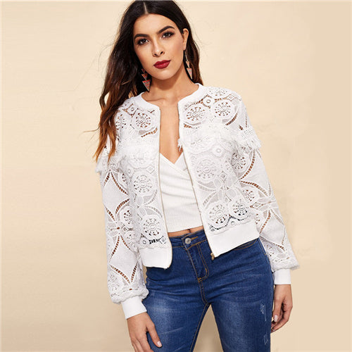 White Elegant Jacket Women 2019