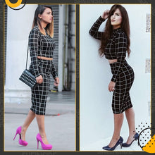 Load image into Gallery viewer, Stand Collar Long Sleeve 2 Piece Set Women