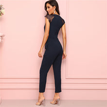 Load image into Gallery viewer, Navy Eyelash Lace Cuff Pleated Jumpsuit Elegant Summer 2019