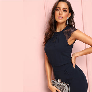 Navy Eyelash Lace Cuff Pleated Jumpsuit Elegant Summer 2019