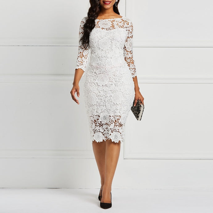 Women White Floral Dress