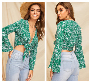 Green Bell Sleeve Dot Print Knot Front Crop Womens Tops And Blouses 2019