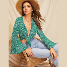 Load image into Gallery viewer, Green Bell Sleeve Dot Print Knot Front Crop Womens Tops And Blouses 2019
