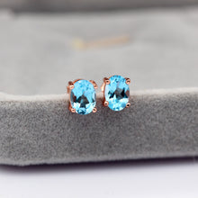 Load image into Gallery viewer, Natural Aquamarine Silver Earrings