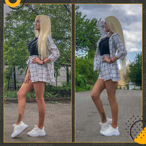Black and White Plaid Notched Blazers With Self Tie Waist Shorts Womens