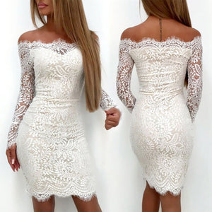 2019 Fashion Elegant White Lace Women Dress