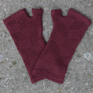 Merino Fingerless Gloves Textured Diamonds + Colours