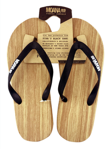 Black/Wooden look Jandals