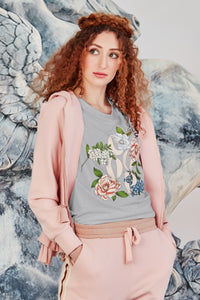 Flower Hour Top - White & Grey Marle