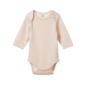 Cotton Long Sleeve Bodysuit - Petal Stripe