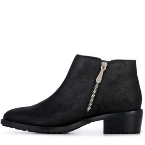 Acton Silver Zip Ankle Boot -  Metallic Black