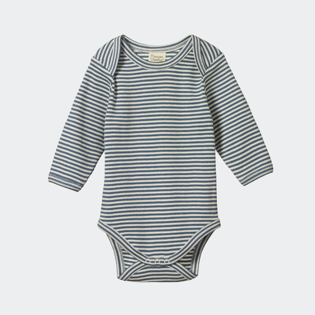 Cotton Long Sleeve Bodysuit - Deep Blue Stripe