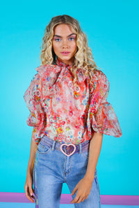 Bow My Goodness Blouse - Red Floral