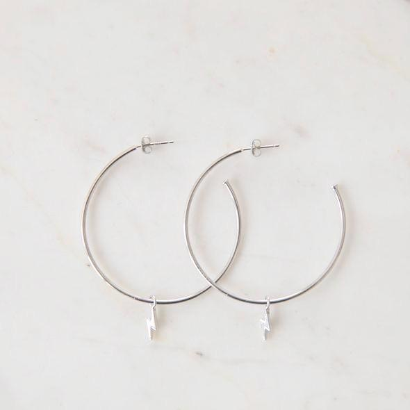 Hoops with Flashy Lightning Bolt - Silver