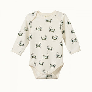 Cotton Long Sleeve Bodysuit - Grasshopper Print