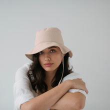 Load image into Gallery viewer, Linen Bucket Hat with Tie - Bone