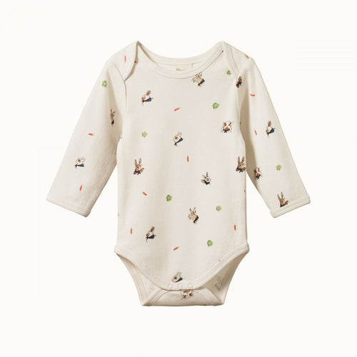 Cotton Long Sleeve Bodysuit - Bunny Garden Print