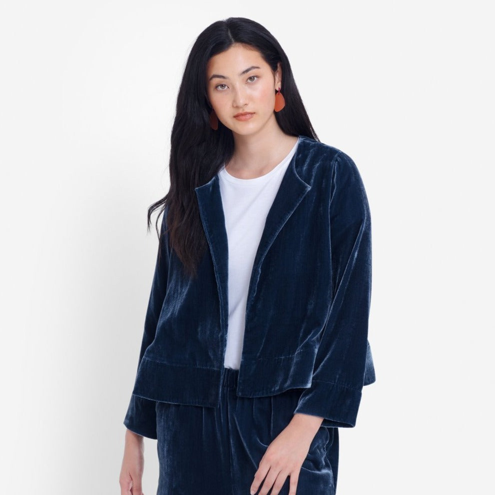 Luxe Velvet Jacket - Sea