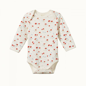 Cotton Long Sleeve Bodysuit - Mushroom Valley Print