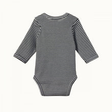 Load image into Gallery viewer, Cotton Long Sleeve Bodysuit - Navy Stripe