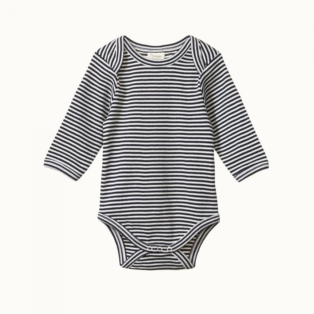 Cotton Long Sleeve Bodysuit - Navy Stripe