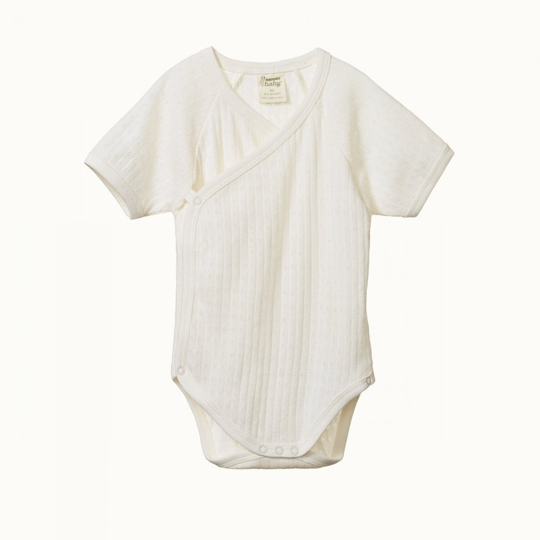Kimono Pointelle Short Sleeve Bodysuit - Natural