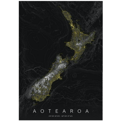 New Zealand Map Black