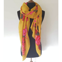 Load image into Gallery viewer, Frida Floral Print Scarf - Mustard